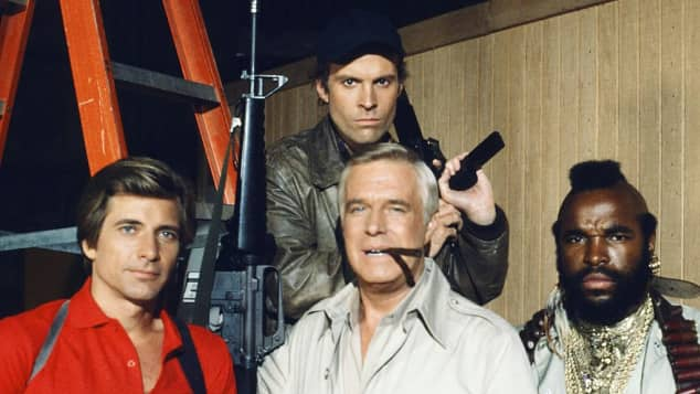 The A- Team Cast: Dirk Benedict, George Peppard, Mr. T and Dwight Schultz