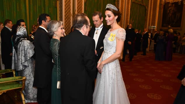Kate in a stunning off-white gown at Buckingham Palace
