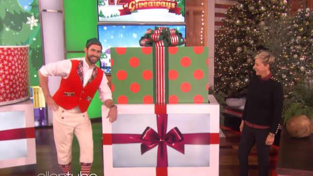Ellen and John Krasinski in the 12 Days of Giveaways Show