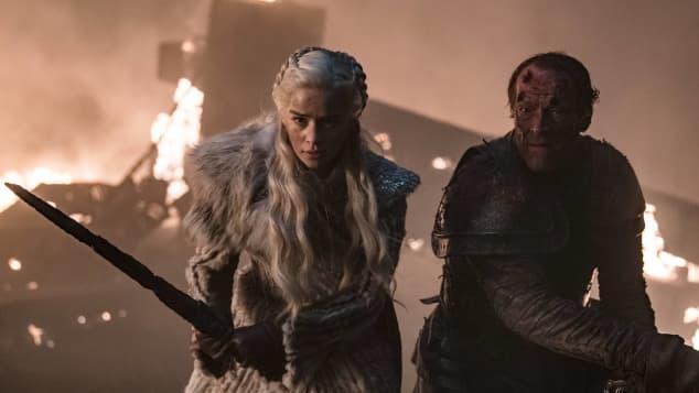 "Emilia Clarke and Iain Glen in ""Game of Thrones"""