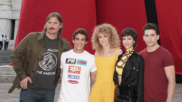 The Cast of 'Money Heist' at Piazza Affari on July 17, 2019 in Milan, Italy.