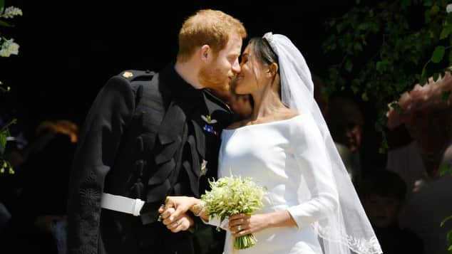 The Duke and Duchess of Sussex in front of St George's Chapel