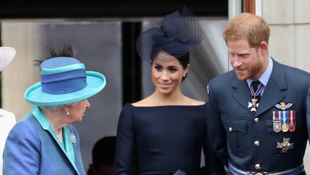 Queen Elizabeth II, Duchess Meghan and Prince Harry