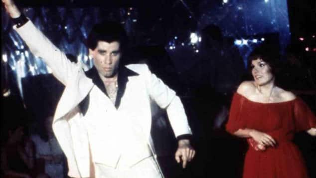 "John travolta and Karen Lynn Gorney in ""Saturday Night Fever"""