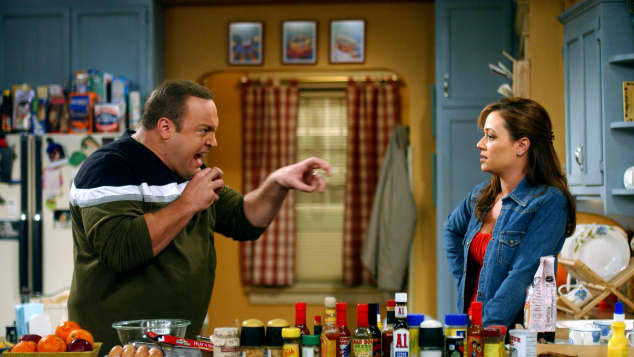 "Kevin James and Leah Remini in the show, ""The King of Queens"""