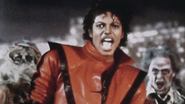 Michael Jackson in the video for his 1982 hit single Thriller.