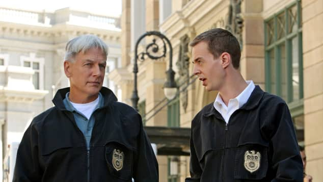 "Mark Harmon as ""Gibbs"" and Sean Murray (""Timothy McGee"") on NCIS."