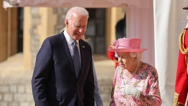 Joe Biden and Queen Elizabeth II