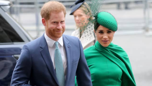 Prince Harry, Duke of Sussex and Meghan, Duchess of Sussex meets children as she attends the Commonwealth Day Service 2020 on March 09, 2020 in London, England
