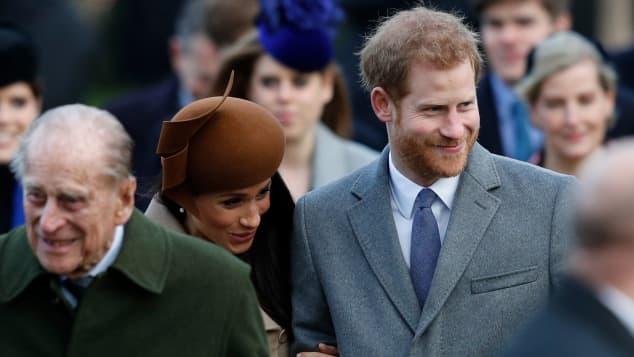 Príncipe Felipe, Meghan Markle y el príncipe Harry
