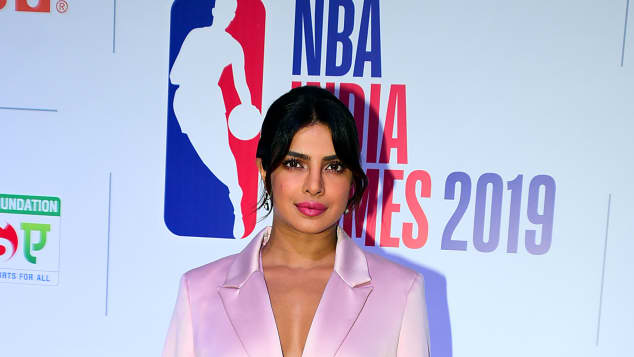 In this photo taken on October 3, 2019, Indian actress Priyanka Chopra Jonas attends a welcome reception ahead of the first National Basketball Association (NBA) games in India, in Mumbai.