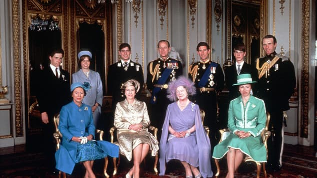 Members of the British Royal Family on the occasion of Queen Mother´s 80th birthday