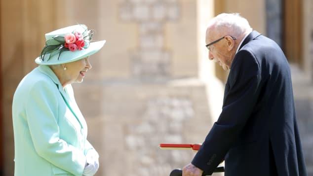 Queen Elizabeth II and Captain Tom Moore