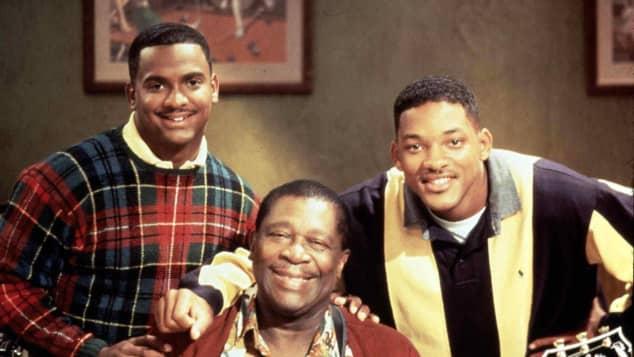 Will Smith, B.B. King y Alfonso Ribeiro en una escena de la serie 'El príncipe del rap'