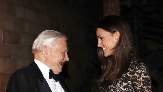 Duchess Catherine and David Attenborough before a screening of David Attenborough's Natural History Museum Alive 3D film at the Natural History Museum