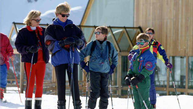 Princess Diana on a skiiing holiday with Prince William and Prince Harry