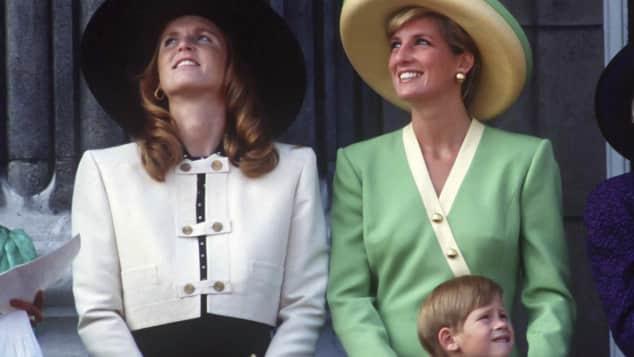 Fergie, la princesa Diana y el príncipe Harry