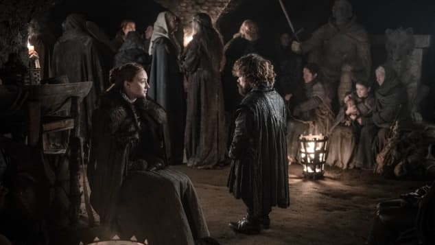 """Sophie Turner and Peter Dinklage as """"Sansa"""" and """"Tyrion"""" in Game of Thrones."""