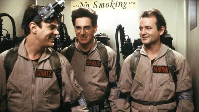 Dan Aykroyd, Harold Ramis and Bill Murray in Ghostbusters in 1984.