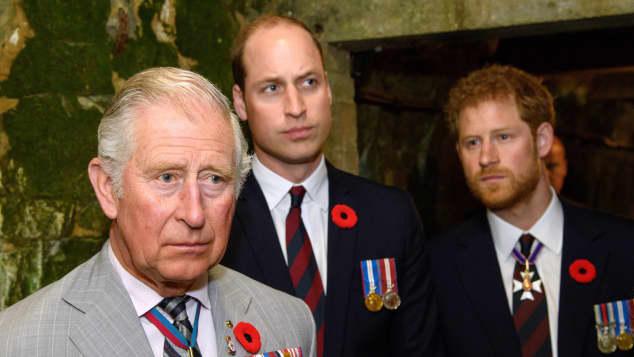 Príncipe Carlos, el príncipe William y el príncipe Harry