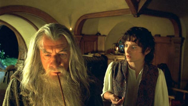 Ian McKellen and Elijah Wood in 'The Fellowship of the Ring'.