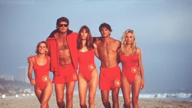 The cast of 'Baywatch': Kelly Packard, David Hasselhoff, Alexandra Paul, Jeremy Jackson, Pamela Anderson