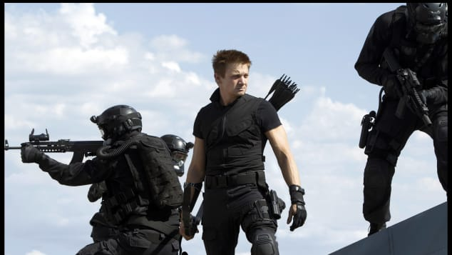 """Jeremy Renner as """"Clint 'Hawkeye' Barton"""" in the 2012 blockbuster The Avengers."""