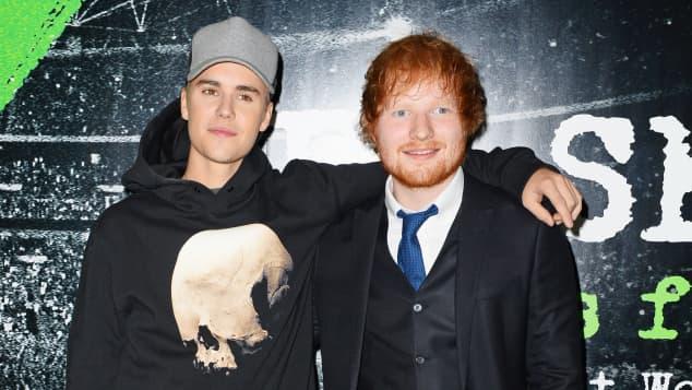 Justin Bieber and Ed Sheeran
