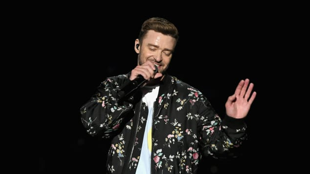 Justin Timberlake performing at the iHeart Radio Music Festival 2018