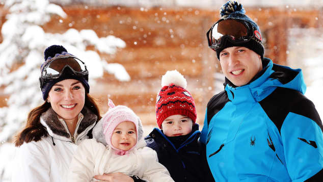 Duchess Kate, Princess Charlotte, Prince George and Prince William on a skiing holiday in 2016