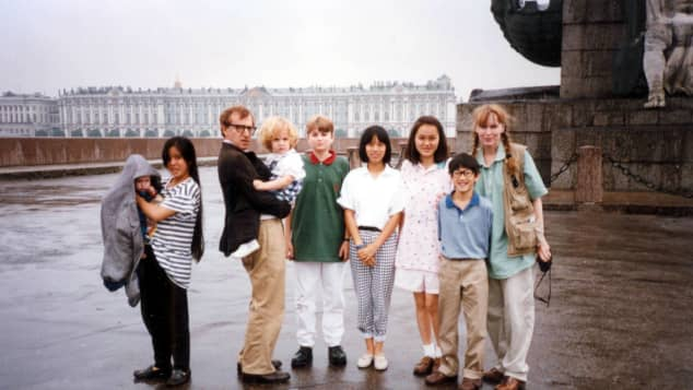 Mia Farrow and Woody Allen with their children