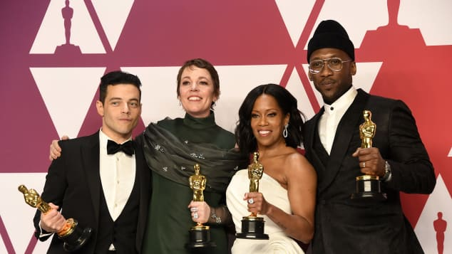 Rami Malek, Olivia Colman, Regina King and Mahershala Ali at the 2019 Oscars