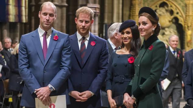 Príncipe William, príncipe Harry, Meghan Markle y Kate Middleton en Londres, Inglaterra, en noviembre de 2018
