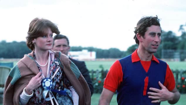 Lady Sarah Spencer and Prince Charles at a polo match in 1977.