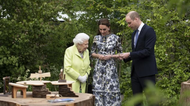 Queen Elizabeth II, Duchess Catherine and Prince William