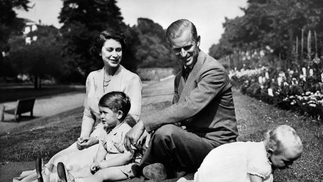 Prince Philip, Queen Elizabeth II, Prince Charles and Princess Anne