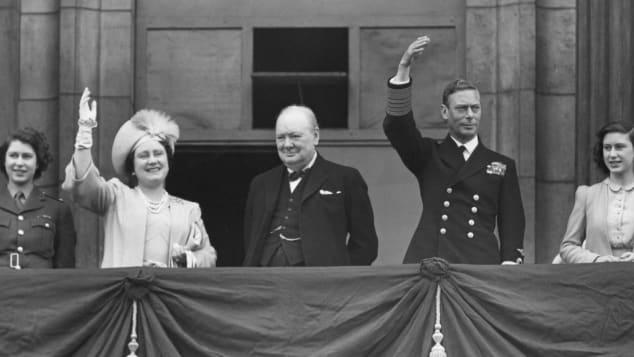 Princess Elizabeth, Queen Elizabeth, Winston Churchill, King George VI and Princess Margaret