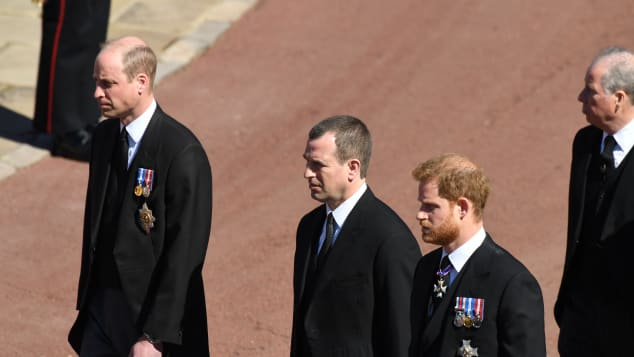 Prince William, Peter Phillips and Prince Harry