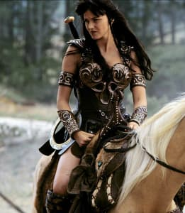 """Lucy Lawless as """"Xena"""" in 'Xena: Warrior Princess'."""