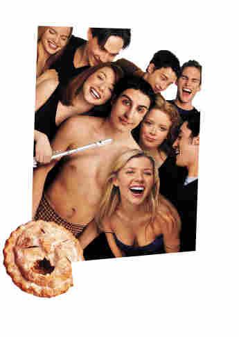 Mena Suvari, Chris Klein, Eddie Kaye Thomas, Seann William Scott, Alyson Hannigan, Jason Biggs y Tara Reid en una imagen promocional de la película 'American Pie'
