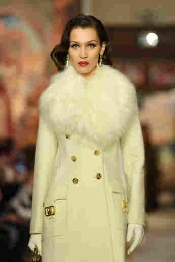 Bella Hadid walks the runway during the Lanvin show as part of Paris Fashion Week.
