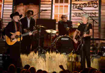 Willie Nelson and Kris Kristofferson of The Highwaymen, performing at the 56th GRAMMY Awards in 2014