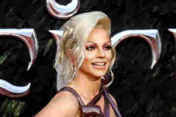 """Courtney Act attends the European premiere of """"Maleficent: Mistress of Evil"""" on October 09, 2019 in London, England."""