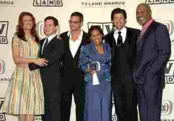 """Actors Kate Walsh, T.R. Knight, Justin Chambers, Chandra Wilson, Patrick Dempsey and James Pickens Jr. of """"Grey's Anatomy"""", winner of the Future Classic Award in Santa Monica, 2006."""