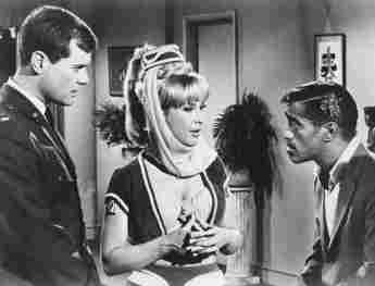 Larry Hagman, Barbara Eden, and Sammy Davis, Jr. in 'I Dream of Jeannie'