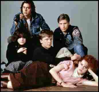 Molly Ringwald, Ally Sheedy, Judd Nelson, Emilio Estevez and Anthony Michael Hall in The Breakfast Club