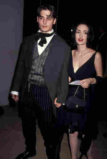 Johnny Depp and Winona Ryder attend the 48th Annual Golden Globe Awards 1991
