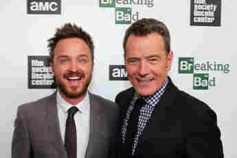 Aaron Paul and Bryan Cranston at the screening of the final Breaking Bad episodes in New York City.