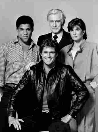 'Knight Rider' Cast: Peter Parros, David Hasselhoff, Edward Mulhare and Patricia McPherson.