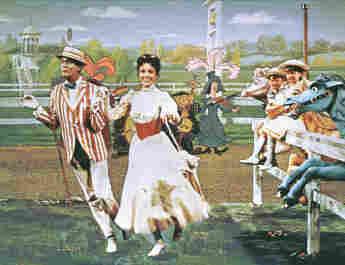 Dick Van Dyke, Julie Andrews, Matthew Garber y Karen Dotrice en Mary Poppins